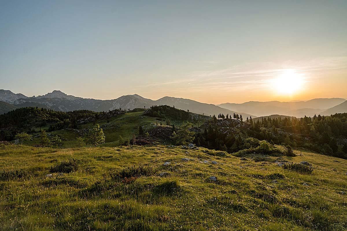 mountain sunrise Velika planina