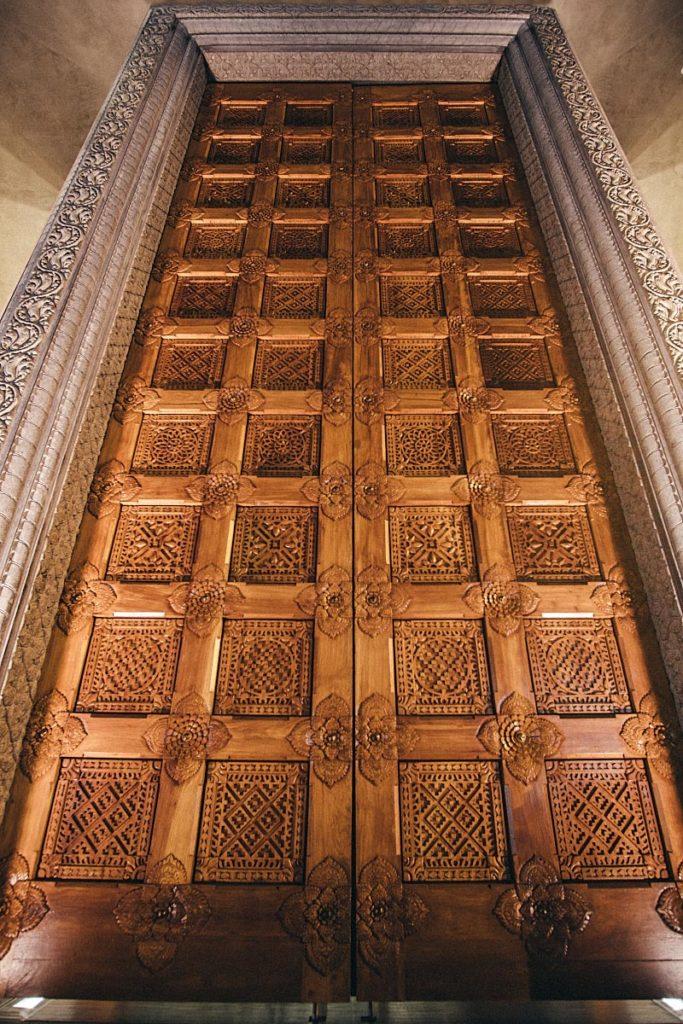 Big wooden doors at Heritage Center