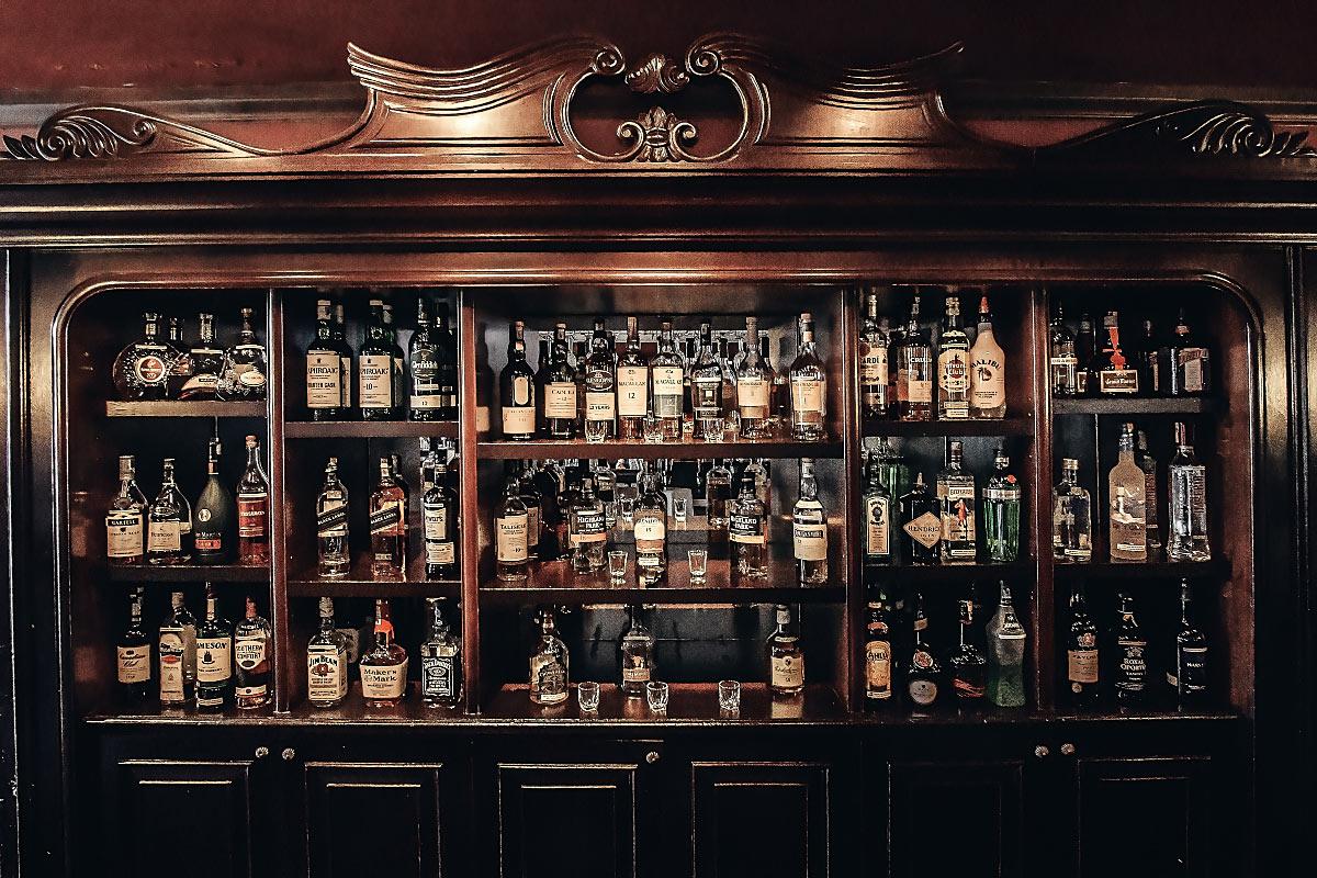 Farquhar's bar liqueur shelf