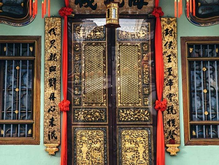 Oriental doors Peranakan wood carving