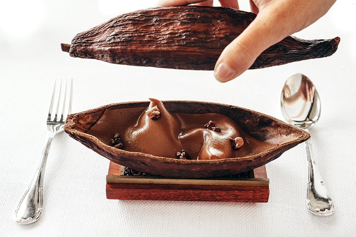 Cocoa bean dessert in a cocoa husk