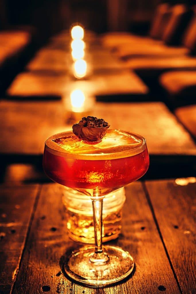 Cocktail with walnut