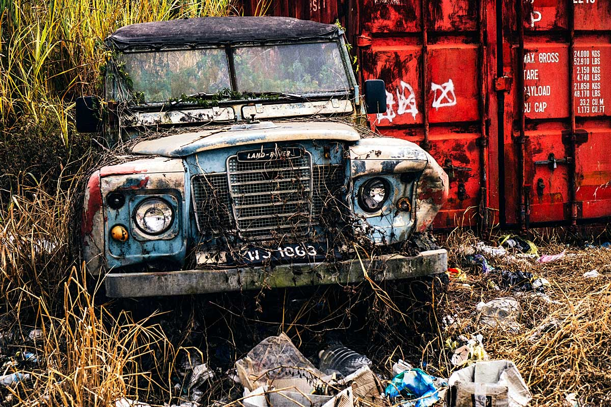 abandoned land rover