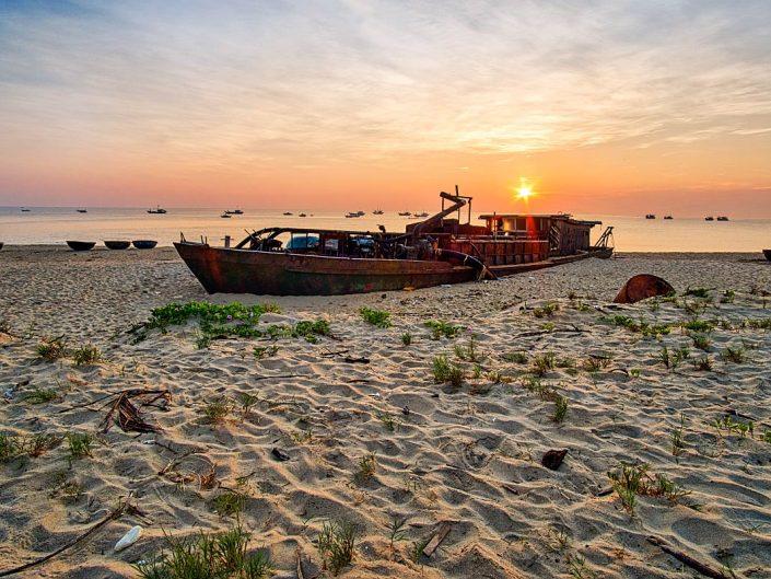 sandy beach shipwreck