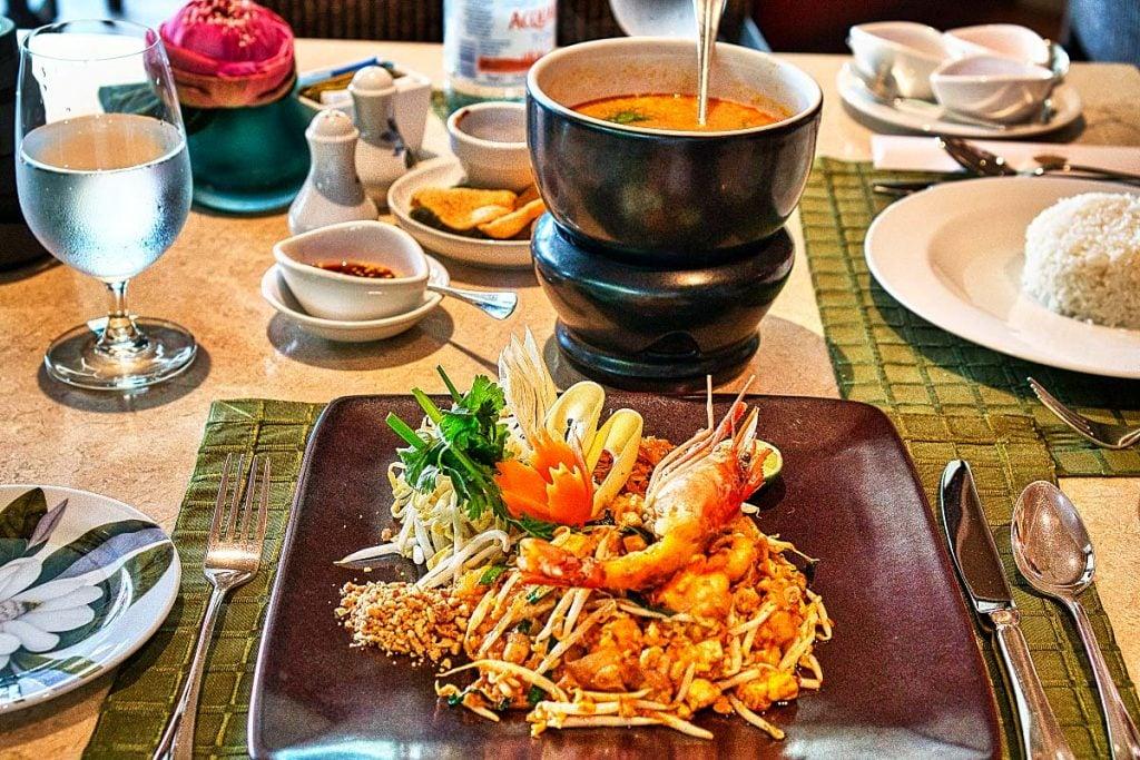 thai food tom yam and pad thai