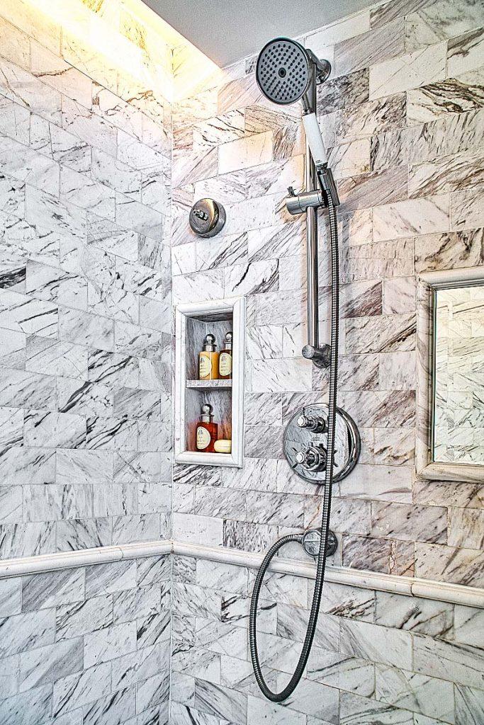 White marble luxury shower