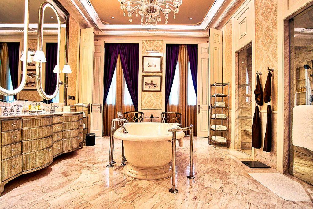 luxury bathroom with freestanding tub