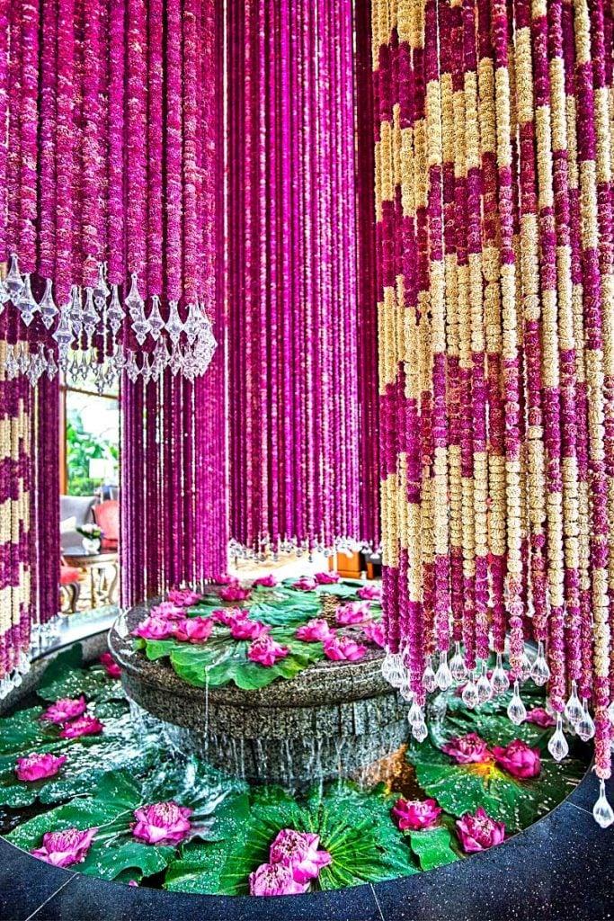 flower arrangement at Mandarin Oriental Bangkok hotel