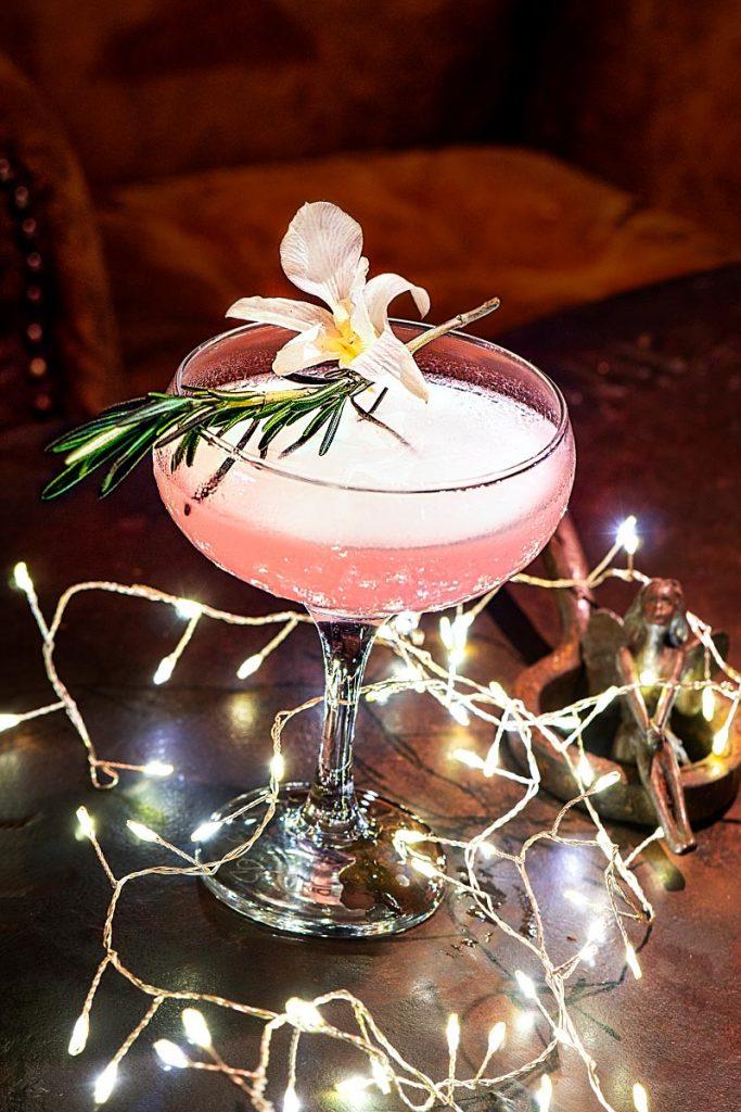 pink drink with fairy lights at Iron Fairies Kuala Lumpur