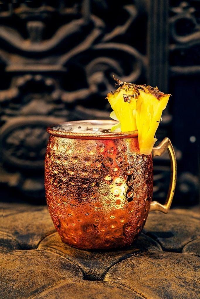 Jungle Bird cocktail in a copper mug