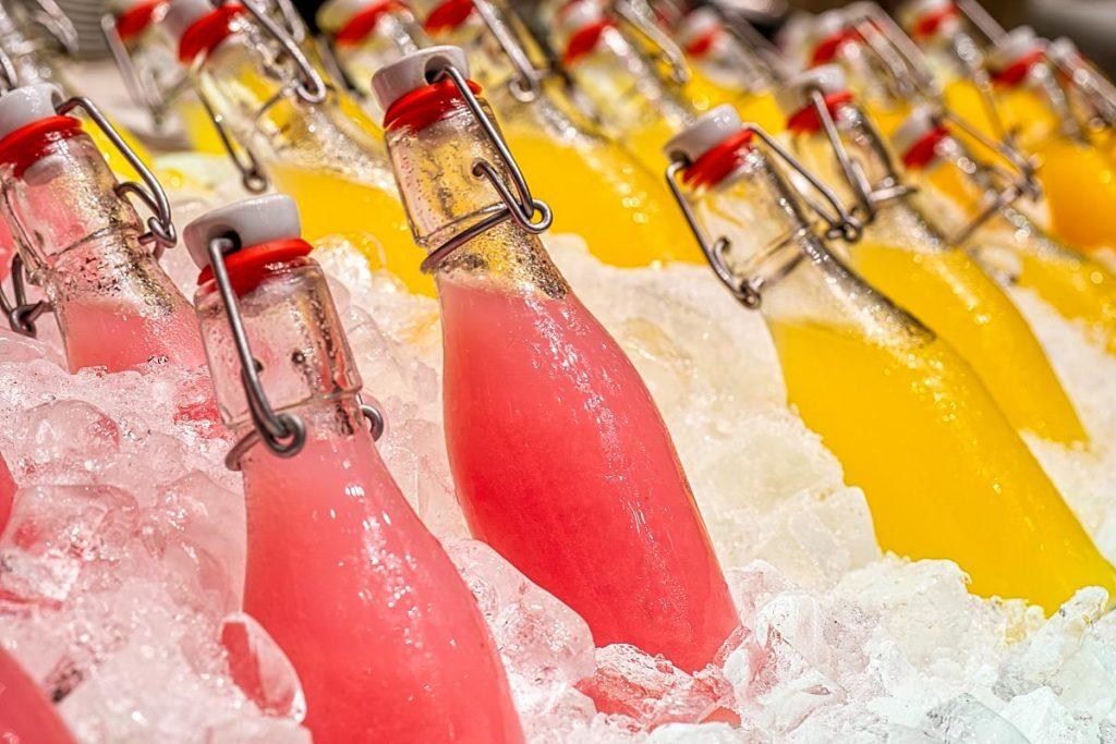 juice bottles on the ice
