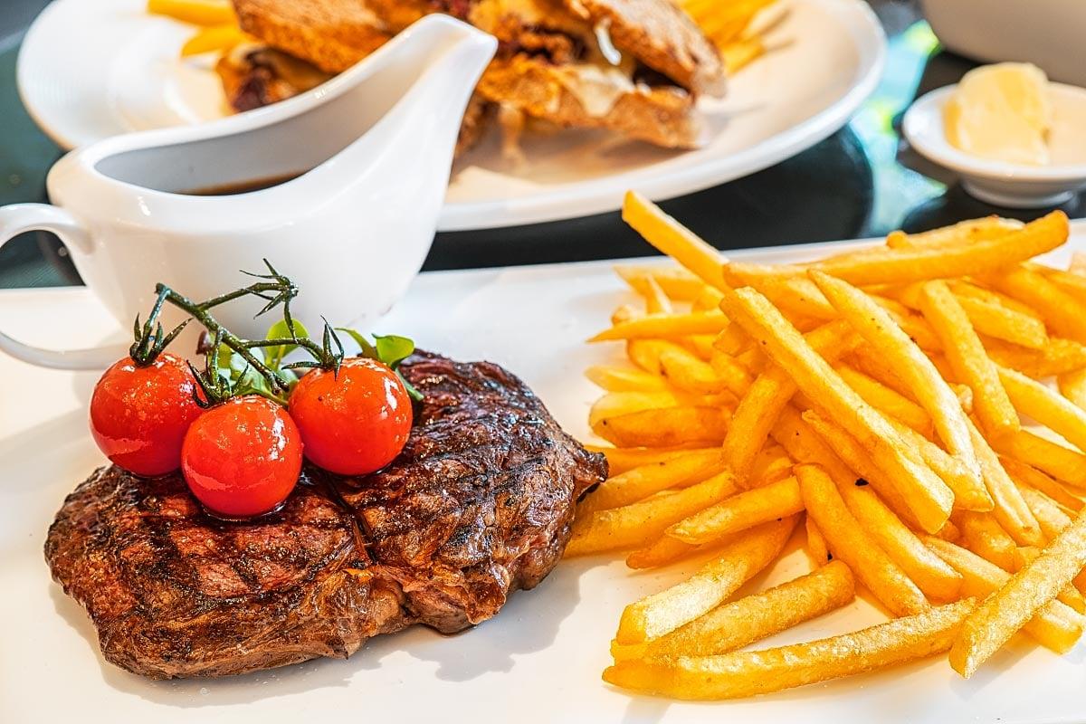 aged rib eye steak frites