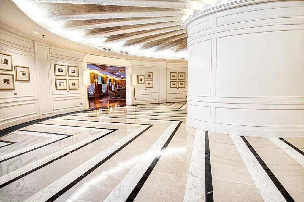 tricolor marble hallway