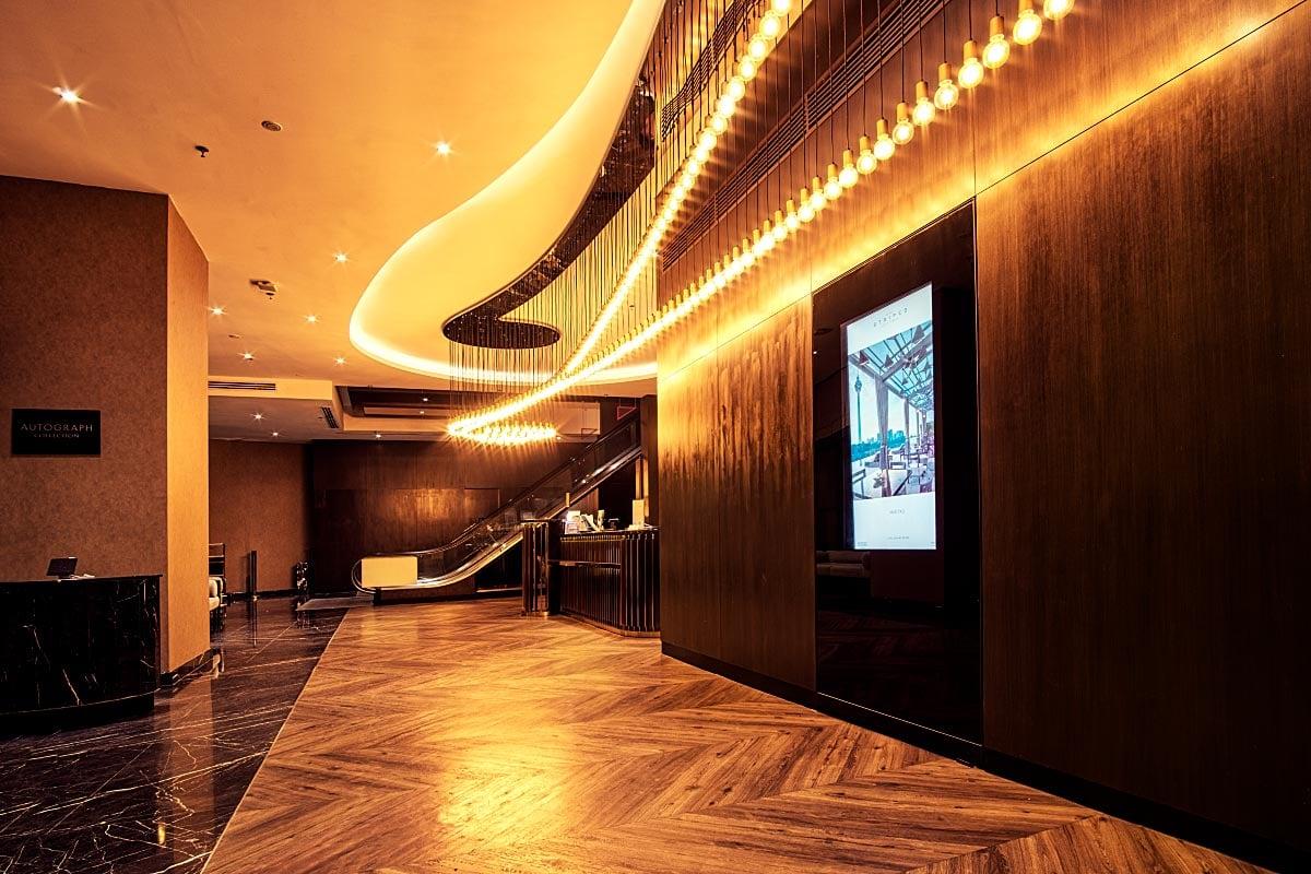 Stripes hotel lobby