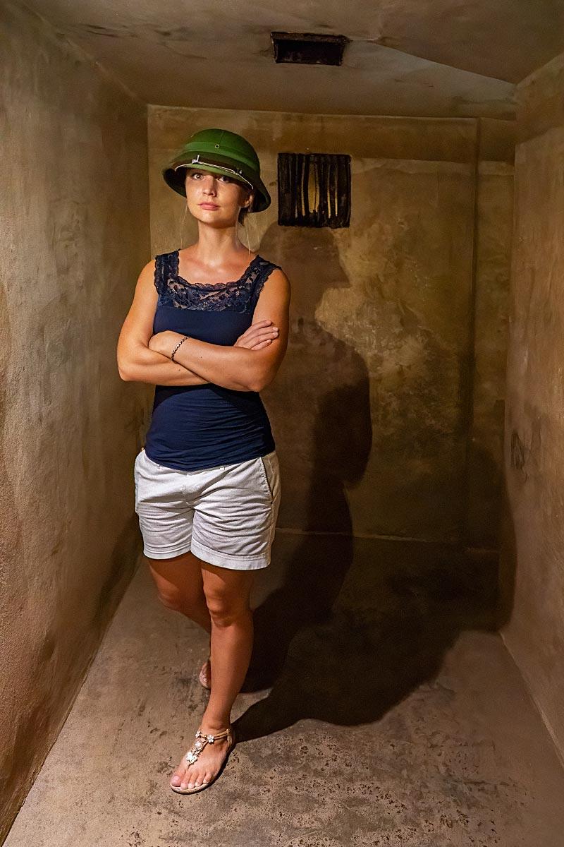 Vivi in the bomb shelter