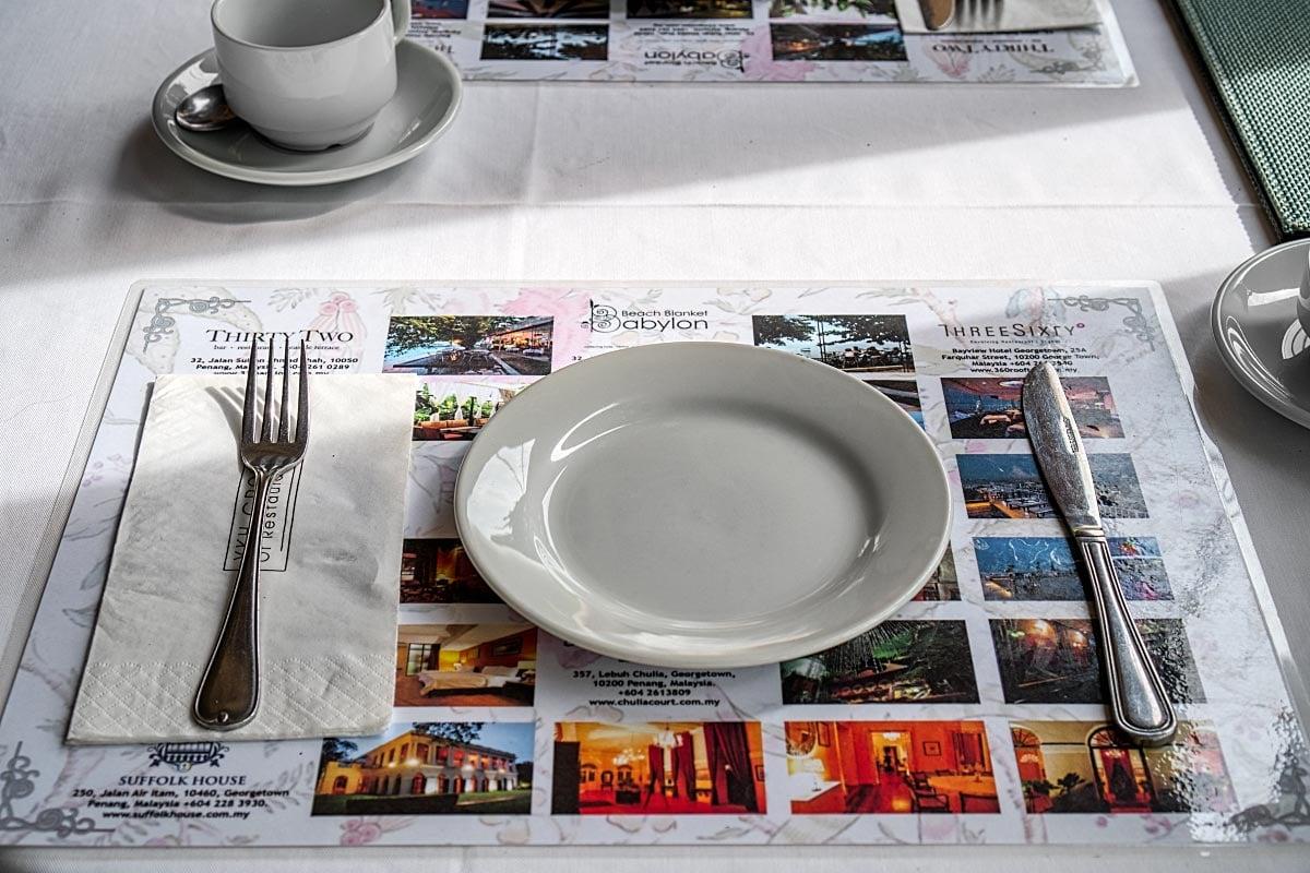 laminated menu