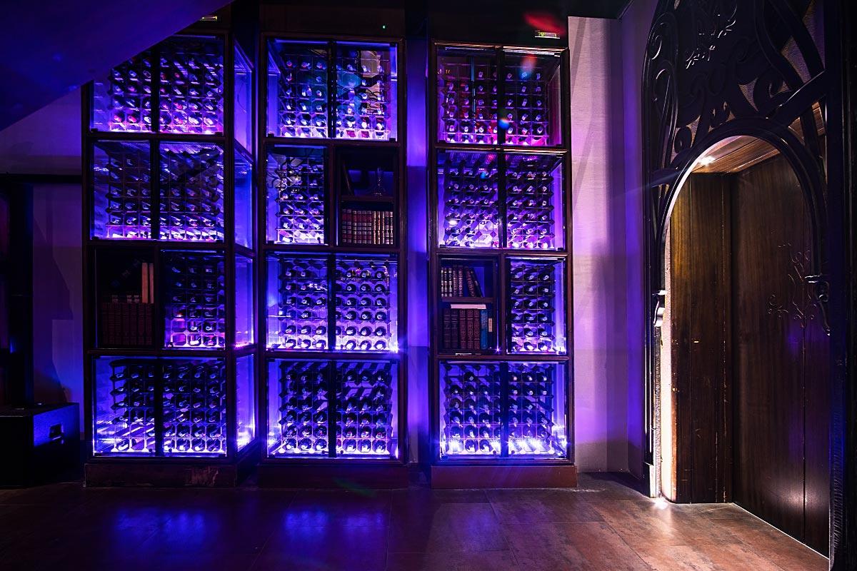 wine closet with neon lights